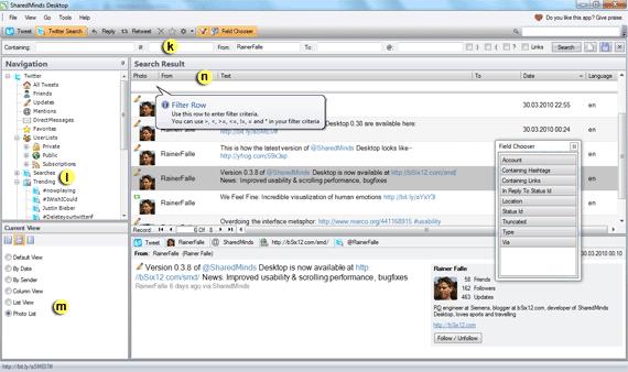 SharedMinds Desktop - Twitter Search