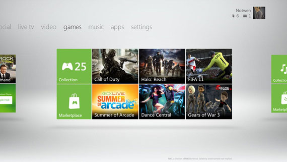Xbox 360 Dashboard: Live tiles are a great example of simplicity