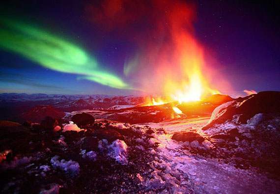 Aurora borealis floating over an volcano